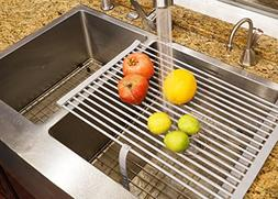 """Stainless Steel Roll-up Folding Drying Rack Colander 20.5"""" X"""