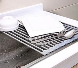 "Roll Up Sink Drying Rack 17"" X 13"", Grey, Ohuhu Multipurpose"