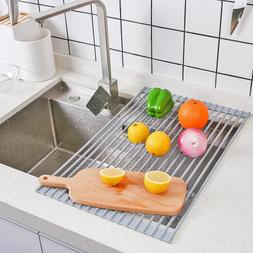 "Roll Up Dish Drying Rack - 20.9"" x 12.6"" Stainless Steel and"