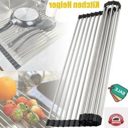 roll up dish drying rack foldable stainless