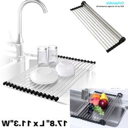 Roll-Up Dish Drying Rack Kitchen Over Sink Roll Drainer Hold