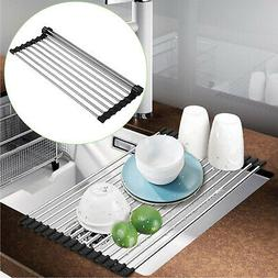 Roll Up Folding Over the Sink Dish Drying Rack Stainless Ste