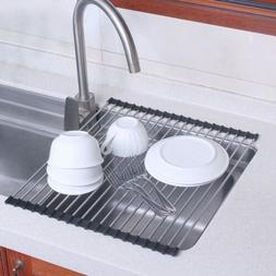 Roll Up Over Sink Kitchen Folding Dish Drainer Drying Rack o