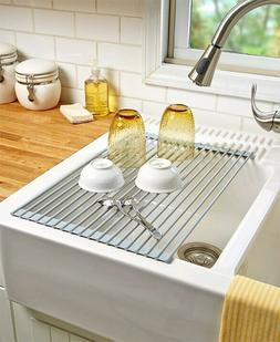 Roll-Up Sink Drying Rack Lets Water Drip & Rinse Drain Fruit