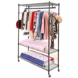 Rolling Closet Storage Organizer Garment Rack Clothes Hanger