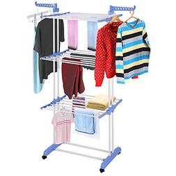 Yeshom Foldable 3 Tier Clothes Drying Rack Rolling Collapsib