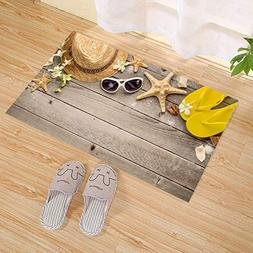 JANNINSE Rustic Wood Material Brown Wooden Board Starfish Ho