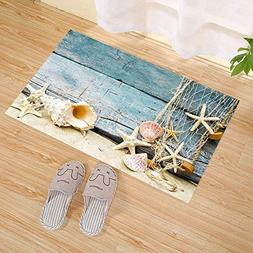 JANNINSE Rustic Wood Theme Blue Shabby Wooden Plank Texture