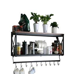 Warm Van Rustic Wood With Metal Bracket Wall Shelf, Living R
