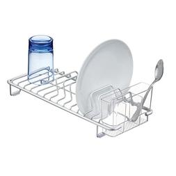 mDesign Rustproof Aluminum Compact Kitchen Dish Drainer for
