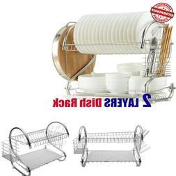 S-shaped Dual Layers Drying Rack Shelf Dish Bowl Chopstick S