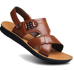 Femaroly Men's Sandals Open Toe Slippers Summer Leather Beac