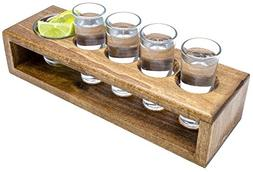 Handmade Wooden Shot Glass Set in Serving Tray, Includes 4 S