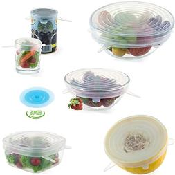 """LetChef Silicone Stretch Lids 6 Pack + Gift 5"""" Suction Lid"""