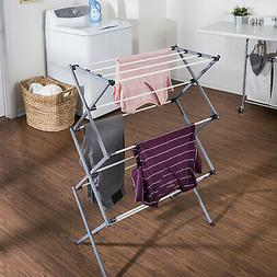 Silver Heavy-Duty Rustproof Metal Drying Rack Home Laundry S