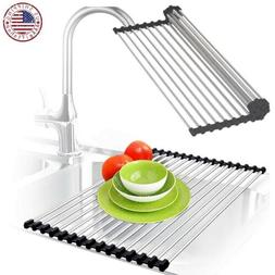 Sink Dish Drying Rack Multipurpose Drainer Roll-Up Heat Sepa