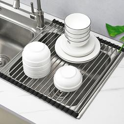 Extra Large Over the Sink Roll-Up Dish Drying Rack Pan Bottl