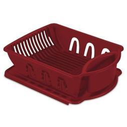 Sterlite Medium Size Red Sink Dish Rack Drainer, 17 Inch X 1