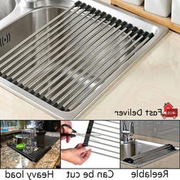 Sink Multipurpose Dish Drying Rack Drainer Mat Roll-Up Heat