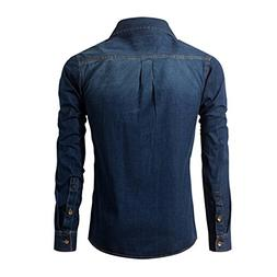 Bikifree Fashion Social Dark Blue Casual Cotton Shirt Long S