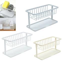 Sponge Drain Sink Holder Kitchen Drying Rack Plastic W/ Drip