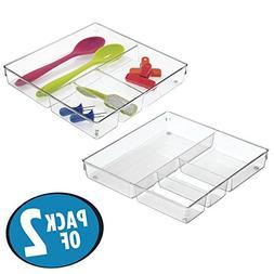 mDesign Square 4 Compartment Kitchen Cabinet Drawer Organize