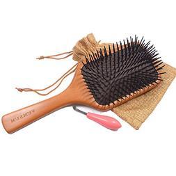 YUMSUM Large Square Wooden Hair Paddle Brush Scalp Massage C