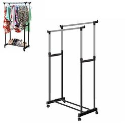 Benlet Stainless Adjustable Double Rod Clothes Hanging Rack