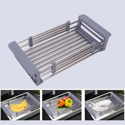 Stainless Steel Dish Drain Rack Telescopic Filter Basket Kit