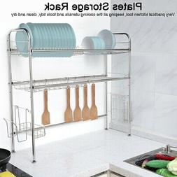 Stainless Steel 2-Tier Dish Drying Storage Rack Cup Drainer