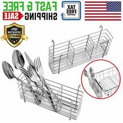 Stainless Steel Utensil Drying Rack Basket Holder 3 Compartm