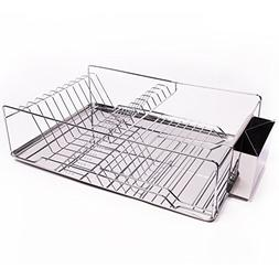 3 Piece Stainless Steel Chrome Kitchen Sink Dish Drainer Set