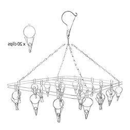 Perfecasa Stainless Steel Clip Drip Laundry Hangers 20 Clips