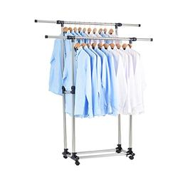 Stainless Steel Floor Hanger, Telescopic Double Rod Drying R