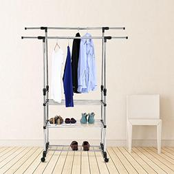 Double Rail Garment Rack, 3 Tier Height Adjustable Stainless