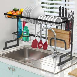 Stainless Steel Over Sink Dish Drying Rack Drainer Kitchen C