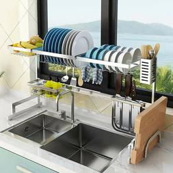 Stainless Steel Over Sink Dish Drying Rack Bowl Shelf Kitche