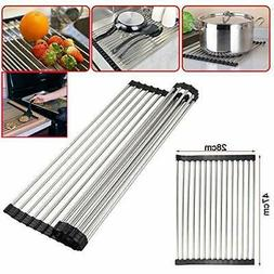 Stainless Steel Over-the-Sink Flexible Roll-up Dish Drying R