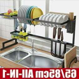 Stainless Steel Sink Drain Rack Kitchen Shelf Dish Cutlery D