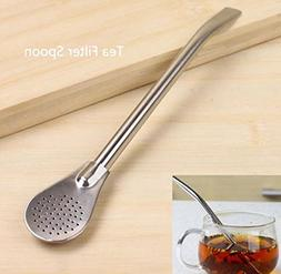 1 Pc Stainless Steel Straw Spoons Professional Coffee Latte