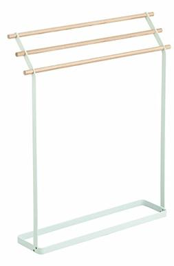 Stainless Steel & Wood Free Standing Drying Towel Rack in Wh