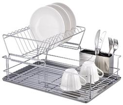 Steel Dish Rack With Removable Utensil Cup Space For Drainin