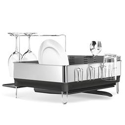 simplehuman Steel Frame Dish Rack w/ Wine Glass Holder, Grey