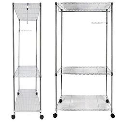 Bonnlo Sturdy Rolling Shelving Garment Rack with 1 Hanger 3