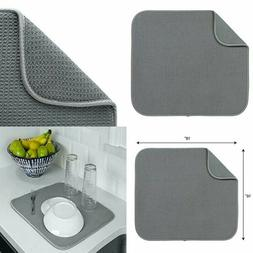 "S&T Microfiber Dish Drying Mat, 16"" x 18"", Gray"