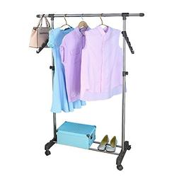 Baoyouni Telescopic Clothes Drying Rack Stand with 2 Hangers