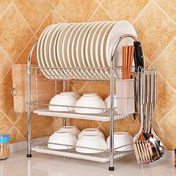 Rziioo Three Layers Drain Dish Rack Household Kitchen Suppli