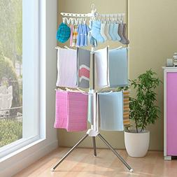 TOPmountain Three Tier Folding Laundry Washing Clothes airer