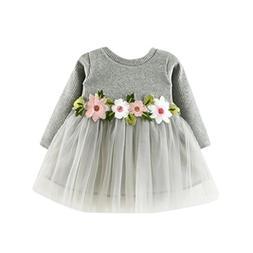 AMSKY Toddler Infant Baby Girls Floral Long Sleeve Brithday