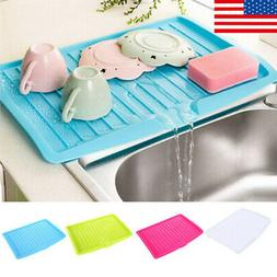 Tray Dish Drainer Large Sink Drying Rack Plastic Home Workto
